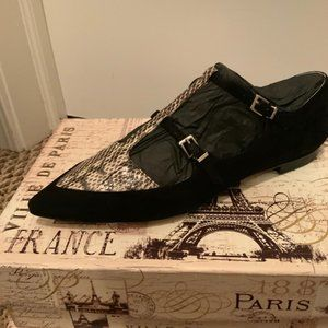 Marc Fisher Snake Skin-Black Suede Loafers New